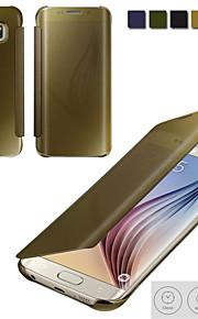 chiari casi flip phone galvanica vista dello specchio di lusso per la galassia S6 / S6 bordo / S6 edge + / S7 / S7 bordo / S7 +