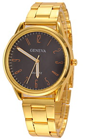Couple's Casual Design Gold Alloy Band Quartz Wristwatch