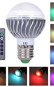 1 stk. HRY E26/E27 3 Høyeffekts-LED 300 LM RGB A60(A19) Dimbar / Fjernstyrt / Dekorativ LED-scenelys AC 85-265 V
