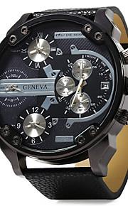militar moda 4 tempo relógio de quartzo pulseira de couro de exibição dos homens
