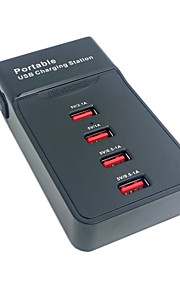 Portable 4 Ports USB Charging Station Dock For Apple iPhone iPad & Tablet & Samsung & Cell Phone With USA Power Cable