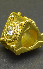 DIY beaded armbånd halskæde tilbehør vakuum forgyldt populær trekant med zircon makroporøse perle hac0046
