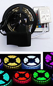 Waterproof 1M 60X5050 SMD RGB LED Strip Light and 24Key Remote Controller and 6A EU/US Power Supply (AC110-240V)