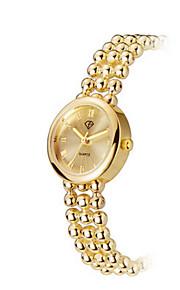 Lady's Stainless Steel Gold Chain Band Analog Bracelet Wrist Watch Jewelry