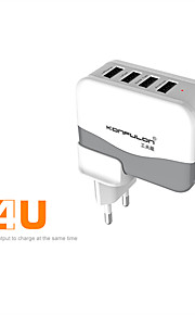confulon @ c21 eu / us plug 4port usb laturi socket AC100 ~ 240V 5v 4.2a virtalähde iphone / ipad / sam välilehti / android