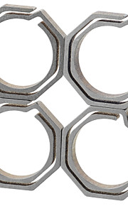 FURA Octagonal Titanium Alloy Key Ring - Champagne + Grey (Small Size / 4PCS)