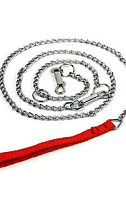 New High Quality Nylon Handle Metal Chain Leash Lead Dog/Pet Leash with Collar Dog Pet Accessory Toys