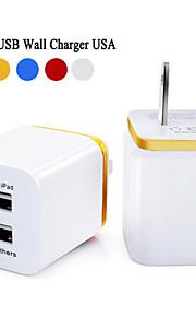 universell 5v 2,1 / 1a USA plug ac resor dubbla USB-väggladdare