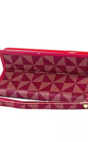 nye trekantede gitter lommebok PU lær flip stand hylster telefon tilfelle for iphone 6/6-ere (assorterte farger)