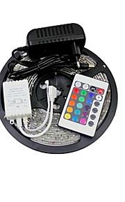 ZDM ™ 5m 150x5050 SMD RGB LED stripe lys og 24key fjernkontroll og ac110-240v til dc12v3a transformator
