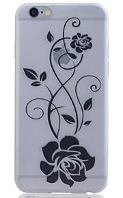 TPU material lyser i mörkret genomskinliga svarta blommor lättnad mjukt skydd ringer fallet för iPhone 5 / 5s / se