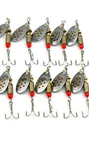 Hengjia 10pcs Deluxe Quality Spoon Metal Fishing Lures 63mm 5.1g Spinner Baits Random Colors