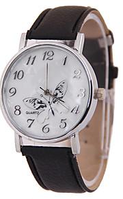 moda e borboleta elegante pu simulação correia das mulheres mostrou que o relógio de quartzo (cores sortidas)