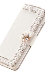 """silke flip lær deksel diamant blomst magnetisk håndlaget perle kortspor stå saker for iphone6 4,7 """""""