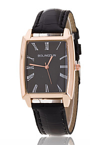 Ladies' Wrist Watch Rectangular Rose Gold Ring With Black Plate PU Quartz Watch(Assorted Colors)