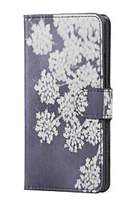 flores que florecen cartera de cuero de la cubierta del caso del soporte del tirón magnético de la PU para LG X220 K5