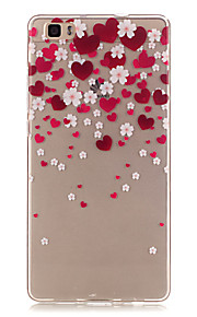 Transparent Colored Heart-Shaped Petals Pattern TPU Soft Case Phone Case For Huawei P8 Lite