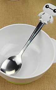 Cartoon Baymax Design Silicone Handle Stainless Steel Spoon(White)