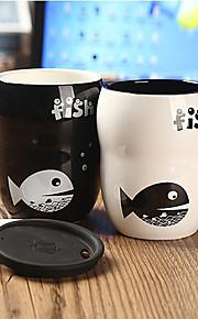 1st 8 * 6 * 11cm rena och fräscha och kontrakterade mode söta svarta och vita hjärtans syster cup kreativa fisk muggar
