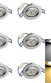 3W Innfelt lampe 3 Høyeffekts-LED 280 lm Varm hvit / Kjølig hvit Dekorativ AC 110-130 / AC 85-265 / AC 220-240 V 6 stk.