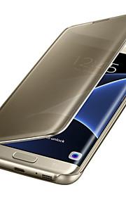 Per Samsung Galaxy S7 Edge Standby automatico/accendimento automatico Placcato A specchio Con chiusura magnetica Transparente Custodia