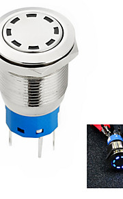 jtron blenderåpning 19mm bil knappen bytter off-on / selvlåsende hvit / blå / rødt lys - sølv (12v)
