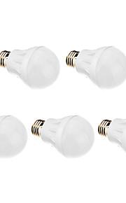 5W E26/E27 LED-globepærer 21 SMD 2835 420-450 lm Varm hvit AC 220-240 V 5 stk.