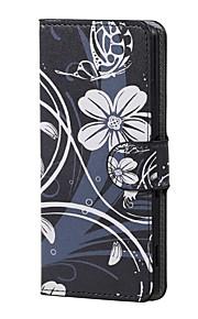 flor blanca magnética de la PU de la carpeta de cuero del soporte del tirón de la cubierta del caso Lenny wiko 3