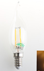 1 stk. Zweihnder E14 4W 4 COB 380 lm Varm hvit C35 Dekorativ LED-lysestakepærer AC 220-240 V