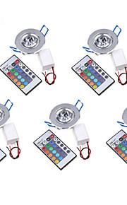 Taklys Innfelt retropassform Høyeffekts-LED 200-250 lm RGB Fjernstyrt Dekorativ AC 85-265 V 5 stk.