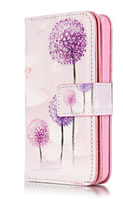 PU Leather Embossed Purple Dandelion Wallet Case with 9 Card Slots for iPhone SE 5s 5
