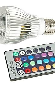 9W E26/E27 LED-globepærer A50 1 Høyeffekts-LED 400-550 lm RGB Fjernstyrt AC 85-265 V 1 stk.