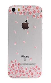 material de TPU flores rosa padrão de caixa do telefone fino para iphone SE / 5s / 5