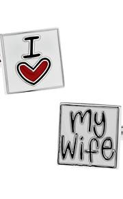 herremode jeg elsker min kone sølv legering fransk shirt manchetknapper (1-par) smykker