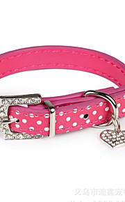 Dog Collar Adjustable/Retractable / Rhinestone / Heart Shaped Black / Blue / Pink / Purple PU Leather