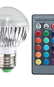 3W E26/E27 LED-globlampor A50 1 Högeffekts-LED 100-200 lm RGB Fjärrstyrd AC 85-265 V 1 st