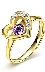 lureme® Fashion Stainless Steel Carved Heart Purple and White Zircon Womens Girls Ring - Golded Tone
