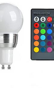 3W GU10 LED-globepærer A50 1 Høyeffekts-LED 100-200 lm RGB Fjernstyrt AC 85-265 V 1 stk.