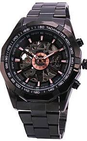 Masculino Relógio de Pulso Automático - da corda automáticamente Gravação Oca Aço Inoxidável Banda Preta marca- WINNER