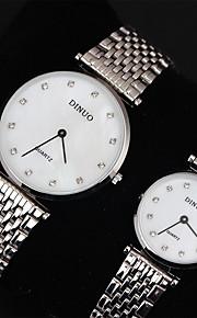 Casal Relógio Elegante Quartzo Japonês Relógio Casual Aço Inoxidável Banda Prata marca