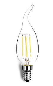 4W E14 LED-lysestakepærer C35 4 COB 300-400 lm Varm hvit Dekorativ AC 220-240 V 1 stk.