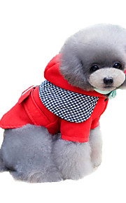 Cat / Dog Coat Red / Blue Winter / Spring/Fall Britsh / Houndstooth Keep Warm / Fashion, Dog Clothes
