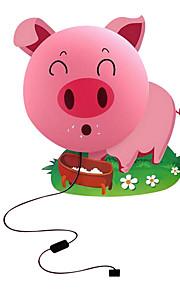 cerdo rosado creativo luz de noche pared bricolaje