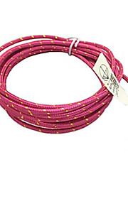 3m 10ft stoff flettet vevd micro usb ladekabel data sync ledningen for HTC sony telefoner (rose)
