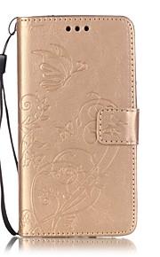 Cuerpo Completo billetera / Soporte de Tarjeta / Dar la vuelta Color Sólido Cuero Sintético Suave Embossed Leather Cubierta del caso para