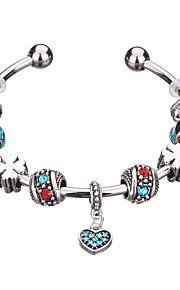 Charm-armbånd / Bangles / Manchetarmbånd / Strand Armbånd / Silver Bracelets 1pc,Mørkeblå / Pudebetræk / Rød / Grøn / Pink ArmbåndHoldbar