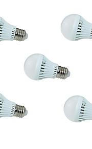 3W E26/E27 Smart LED Glühlampen A60(A19) 10 SMD 2835 250lm lm Kühles Weiß Geräusch aktiviert / Sensor AC 220-240 V 5 Stück