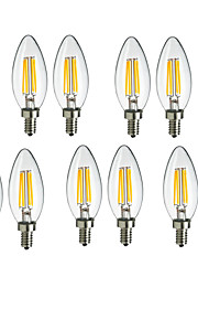 4W E14 LED-glødepærer C35 4 COB 360lm lm Varm hvit / Kjølig hvit Dekorativ AC 220-240 V 10 stk.