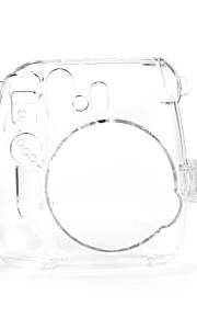 Mini 8 Instant Camera Case - Instax Mini 8 Transparent Case with Camera Shoulder Strap (Brown)