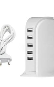 5 Porte USB Porte Multi Presa EU caricatore domestico con cavo per iPad / per il cellulare / Per Altro Pad / For iPhone5V , 1A / 2,1A /